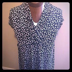 Polka dot long torso blouse, back ties